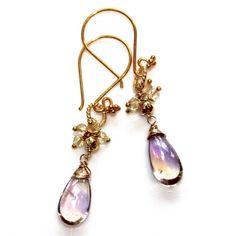 Ametrine Earrings Citrine Amethyst Gold Vermeil Cluster Gemstone Earrings