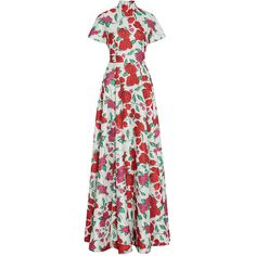 Emilia Wickstead M'O Exclusive Miranda Floral Gown (284.200 RUB) ❤ liked on Polyvore featuring dresses, gowns, floral, a line dress, flower print dress, white floral dress, floral gown and white gown