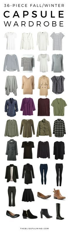 A 36-piece fall winter capsule wardrobe with outfit combinations. Click through to find out where to buy the pieces pictured!