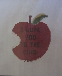 Apple Counted Cross Stitch Kit DS101 Belding Lily I Love You to the Core Vtg NIP #BeldingLily #Frame