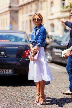 Falda midi-camisa jean