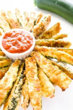 Crispy Parmesan Zucchini Fries (Low Carb, Gluten-free) - These gluten-free, low carb zucchini fries have a crispy parmesan coating.