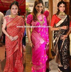 Banarasi sarees: a superb blend of ethnicity, traditions and just divine beauty! Banarasi Sarees, Sonam Kapoor, Red Wedding, Bridal Jewelry, Ethnic, Sari, Blue, Yellow, Traditional