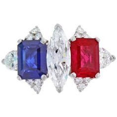Burma Ruby Sapphire Diamond Platinum Ring ($47,500) ❤ liked on Polyvore featuring jewelry, rings, blue, platinum sapphire ring, diamond jewellery, blue diamond rings, sapphire diamond ring and ruby jewelry