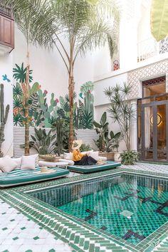 Marrakech - Morocco - Le Riad Yasmine - Wanderlust - Girly Getaway - Beautiful Destinations Le Riad, Marrakech Morocco, Spanish House, Spanish Style, Outdoor Spaces, Outdoor Living, Moroccan Garden, Bali House, Mediterranean Homes