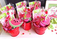 Give guests fun watermelon favors to take home! | via whimsicallydetailed.com