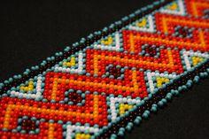 Geometric Huichol Bracelet Tribal Geometric Bracelet Beaded