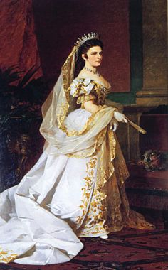 Sisi in Hungarian court dress carrying her veil by ? (location unknown to gogm) | Grand Ladies | gogm