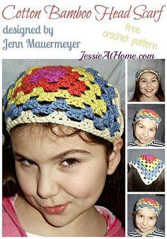 Cotton Bamboo Head Scarf ~ free crochet pattern by Jenn M for JessieAtHome.com