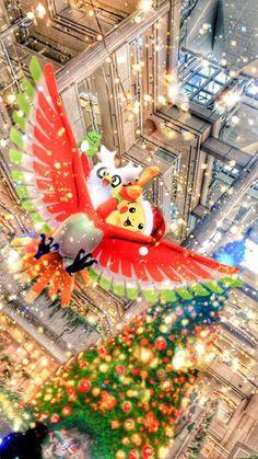 """""""サンタたちが #ホウオウ に乗ってやってきた! #メリクリポケモンAR写真大会 #ポケモンAR写真大会 #突然のホウオウをARで撮らん会 #デリバード #ピカチュウ #HoOh #Delibird #Pikachu #ポケモンAR写真 #PokemonGoPhotos #GoSnaps #PokemonGoContest #ポケモンGo #PokemonGo #ポケモン #Pokemon"""""""