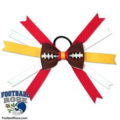 Handmade Football Hair Bow made from real football leather with Red, Yellow, and White ribbon accents inspired by Kansas City football Kansas City Football, Football Team, Football Hair Bows, Different Font Styles, Rose Boutonniere, Team Mom, Elastic Hair Ties, Making Hair Bows, Ribbon Colors
