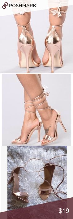 🌸NEW FASHIONNOVA ROSE GOLD HEELS SIZE 8 FLOWER🌸 Hey gorgeous dolls! More Fashionnova as promised. I hope you're having a great day dolls. Here I have a pair of brand new Fashionnova Heels Size 8. Color: RoseGold. They wrap around the ankle and lower leg and have an ended flower tie which is so cute. I love the ROSEGOLD color because it's unique and matches with absolutely everything. The first 2 pictures belong to FASHIONNOVA. Enjoy dolls. Same day shipping unless weekend purchase due to…