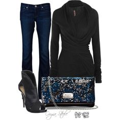 Wrap sweater, dark jeans, open toe high heeled booties, and sparkly purse.  Black, midnight blue, bright blue, and silvery sparkles.
