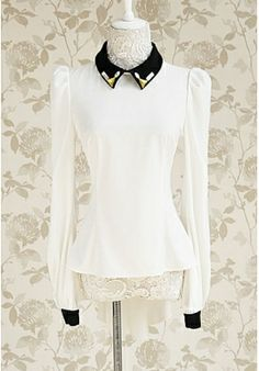 Chic Slim Doll Collar Long Sleeves Rhinestones Shirt