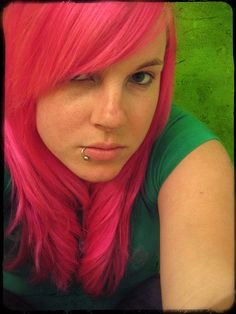Hot pink hair is beautiful. I miss having it, so I'm jealous of this girl.