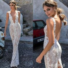 Buy wholesale berta full lace wedding dresses backless deep v-neck illusion bodice wedding dress floor length custom made bridal gowns which is at a discount now. manweisi has guaranteed its qualit… Wedding Dresses Australia, Wedding Dresses London, Sexy Wedding Dresses, Bridal Dresses, Wedding Gowns, Lace Wedding, Backless Wedding, Gothic Wedding, Maxi Dresses