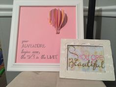 #baby #gift #girl #adventure #hotairballoon #beautiful #silhouettecameo Shapes used: 3d hot air balloon; sketch pens for the saying that I typed in myeslf; shape: You are Beautiful; pink card stock and double sided adhesive with gold glitter
