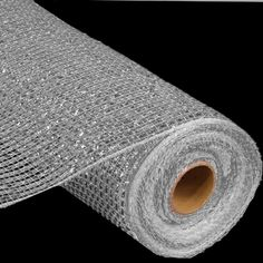 Wide Foil Deco Poly Mesh®  Platnium with Laser Silver (more foil than metallic mesh) 10 inches in width; 10 yards length Synthetic Poly