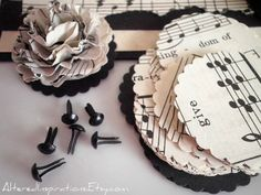 Vintage sheet music flowers