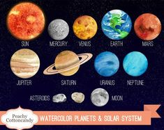 BUY 2 GET 1 FREE Watercolor Solar System Clipart – Planet Clipart – solar system clip art – space science clipart -Commercial Use Ok - kids science Solar System Projects For Kids, Solar System Crafts, Solar System Planets, Solar System Model Project, Solar System Painting, Solar System Cake, Solar System Pictures, Picture Of Solar System, Solar System Clipart