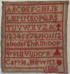 SMALL 19TH CENTURY LINEN & SILK RED WORK ALPHABET SAMPLER BY CARRIE HEWITT 1886