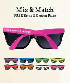 b28ab96261 Custom Wedding Sunglasses No Minimum – FREE Bride   Groom Pair Summer  Wedding Favors