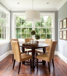 Beautiful Dutch Colonial Home : Marvelous Dining Room Rattan Chairs Round Table Dutch Colonial Home
