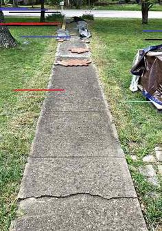 repair concrete sidewalk Installing Brick Pavers Over Existing Cement Sidewalk repair concrete sidew Concrete Front Steps, Brick Paver Patio, Brick Steps, Outdoor Walkway, Front Walkway, Concrete Cement, Cement Steps, Brick Porch, Concrete Coatings