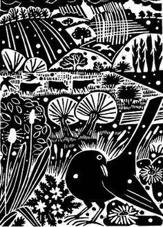 More John Clare inspired artwork. Carry Akroyd - John Clare Series Linocut illustration for The Wood is Sweet. Linocut Prints, Art Prints, Block Prints, Engraving Art, Engraving Ideas, Linoprint, Woodblock Print, Bird Art, Printmaking