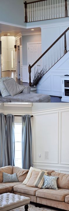 Shadow box (or picture frame) wainscoting makes a big impact, and it's so easy to DIY!