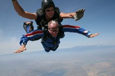 One of our Heroes Living with ALS, Tom Master, seen here skydiving over the Southern California desert a few years after receiving his diagnosis. Image courtesy of Tom Masters