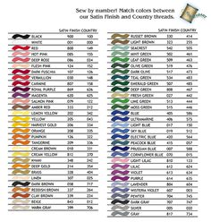 brother embroidery thread color chart | EMBROIDERY THREAD DATABASE Conversions