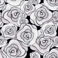 doodle: Estampa floristas ... black and white ... flowers with lines ...