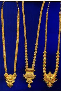 Save in Sujatha Gold Haram Designs, Gold Earrings Designs, Gold Jewellery Design, Gold Jewelry Simple, Gold Mangalsutra, Long Necklaces, Gold Necklace, Bangles, Chain