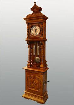 German Carved Oak Musical Grandfather Clock
