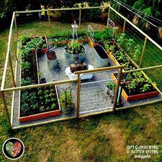 Considering starting your own backyard vegetable garden for fresh organic vegetables this article has backyard vegetable garden layout ideas for you. Veg Garden, Vegetable Garden Design, Garden Fencing, Lawn And Garden, Fenced Garden, Vegetable Gardening, Raised Herb Garden, Raised Gardens, Container Gardening