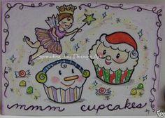 ACEO-Original-Art-Joy-Christmas-Sugar-Plum-Plump-Fairy-Cupcake-Santa-Snowman