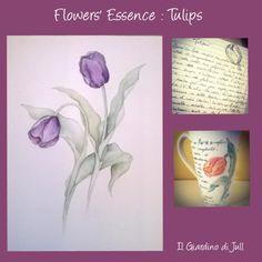 Flower Essence: Tulips. Essenze dei Fiori: il Tulipano. Acquerello, tazza di ceramica dipinta a mano e messaggio del fiore. Watercolors, hand painted ceramic cup and flower meaning.