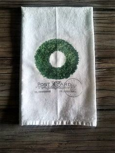 Boxwood Wreath Flour Sack Kitchen Towel