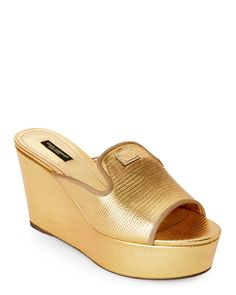 Dolce&Gabbana Gold Embossed Platform Wedge Mules