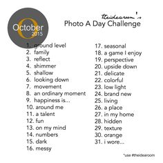 October Photo A Day Challenge - The Idea Room