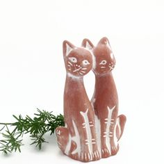 Vintage Terra Cotta Love Cats - Planter Decor - Love Kittens - Cat Couple - Siamese Cats - Cat Figurine - Cat Lover - by VintageModernHip on Etsy