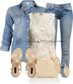 """Denim"" I still have a hard time doing denim on denim but I love the crochet tank and the shoes!"