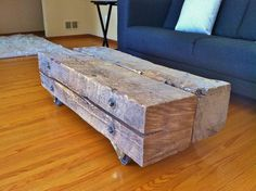 The Selkirk Table - Reclaimed Wood Timber Coffee Table. $685.00, via Etsy.
