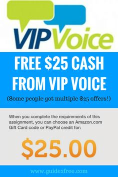 HOT! Select members are being offered a FREE $25 Gift Card from VIP Voice!! Members are reporting that some are receiving MULTIPLE $25 offers after completing surveys! Let me know if you get it!