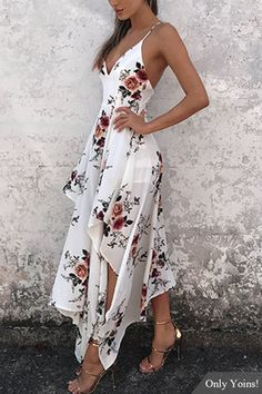 Sexy Random Floral Print Irregular Hem Backless Dress - Sexy Random Floral Print Irregular Hem Backless Dress Source by milavonderstra - Pretty Dresses, Sexy Dresses, Beautiful Dresses, Dress Outfits, Casual Dresses, Fashion Dresses, Dress Up, Prom Dresses, Summer Dresses