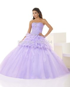 Fashion 2015 Two Pieces Quinceanera Dresses Beading Scoop Lilac Organza Appliques Sweet 16 Dresses Free Shipping BQ52