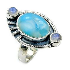 Oxidized Sterling Silver Natural Dominican Larimar, Moonstone Ring, Size 7  Price : $49.95 http://www.silverplazajewelry.com/Oxidized-Sterling-Silver-Dominican-Moonstone/dp/B00NU3S2U4