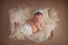 Newborn baby lace bonnet and lace pants Hand by MyLittleKnits