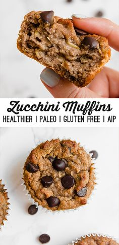 Healthy Zucchini Chocolate Chip Muffins, Desserts, These Chocolate Chip Zucchini Muffins are the perfect baked good for summertime! They& paleo, AIP, and an all-around healthier treat. Bon Dessert, Paleo Dessert, Dessert Recipes, Healthy Muffins, Healthy Desserts, Paleo Zucchini Muffins, Healthy Baking, Zucchini Chocolate Chip Muffins, Chocolate Muffins